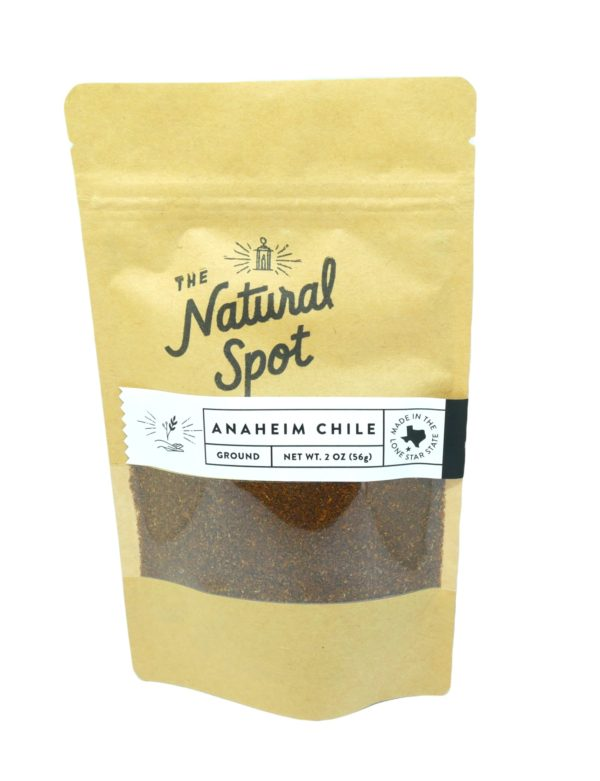 Bag of ground Anaheim Chile Peppers from the Natural Spot