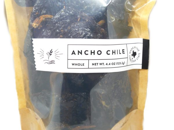 Bag of whole Ancho Chile Peppers from the Natural Spot