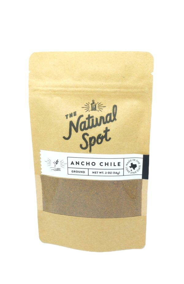 Bag of ground Ancho Chile Peppers from the Natural Spot