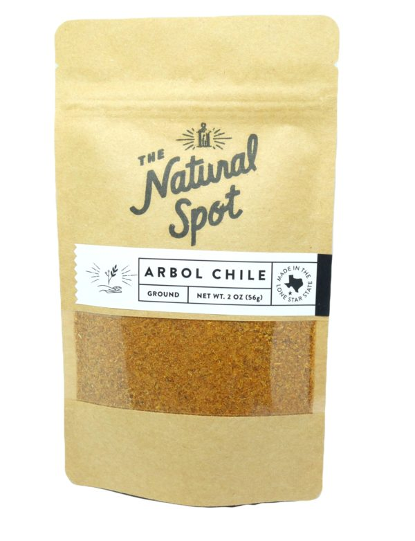 Bag of ground Arbol Chile Peppers from the Natural Spot