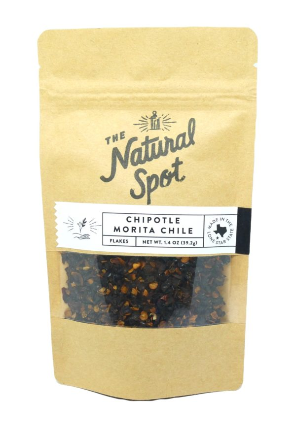Small bag of Chipotle Morita Chile pepper flakes from The Natural Spot