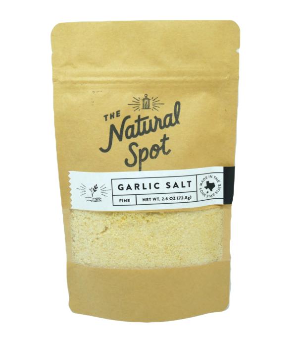 Bag of fine Garlic Salt from the Natural Spot