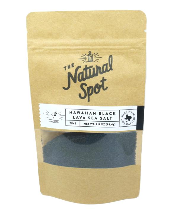 Bag of fine Hawaiian Black Lava Sea Salt from the Natural Spot