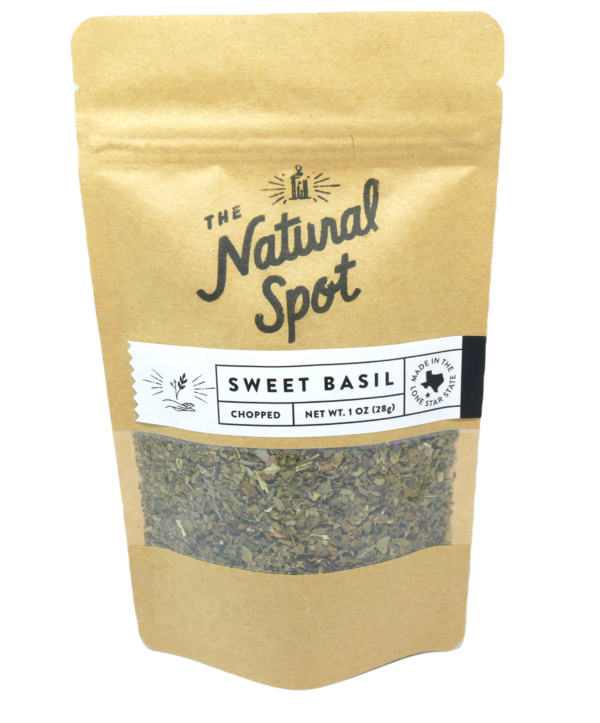 Bag of chopped Sweet Basil from the Natural Spot