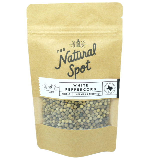 Bag of whole White Peppercorn from the Natural Spot